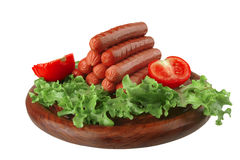 Beef red sausages on plate Stock Photography