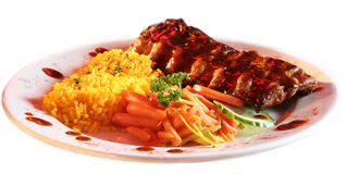 Beef Rib. And rice with carrots Stock Photo