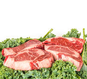 Beef rib eye on the salad leafs Stock Photography