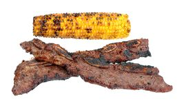 Beef rib with grilled corn Royalty Free Stock Images