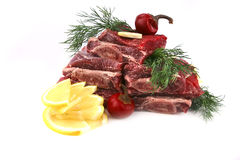 Beef rib's on dish with greenery Royalty Free Stock Images