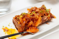 Beef ribs with apricots and onion Royalty Free Stock Photo