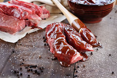 Beef Ribs and Barbecue Sauce Stock Photos
