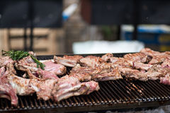 Beef ribs on grill Royalty Free Stock Photos