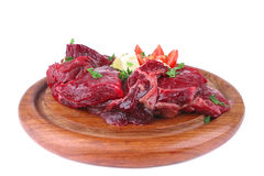 Beef ribs on wooden plate Royalty Free Stock Photo