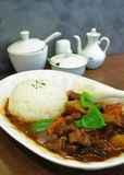 Beef with rice. Oriental beef with rice on table Stock Photos