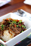 Beef Rice. A bowl of Hawaiian style beef rice stock photo