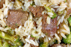 Beef Rice Broccoli up Close Royalty Free Stock Photography