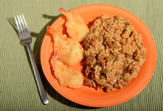 Beef rice and fried shrimp Stock Images