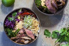 Beef with rice, red cabbage and broccoli. Bowl with sliced beef steak, broccoli, red cabbage, broccolli sprouts and satay sauce royalty free stock images