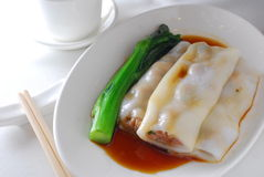 Beef rice sheet roll dim sum Stock Photos