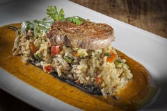 Beef with risotto Royalty Free Stock Photos