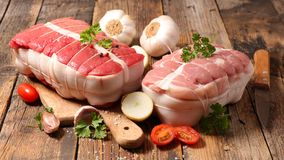 Beef and roast veal. Raw roast beef and roast veal Royalty Free Stock Photo