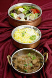 Beef rogan josh with rice and salad Stock Photography