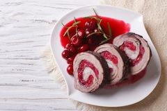 Free Beef Roll Stuffed With Cherries Close-up Horizontal Top View Royalty Free Stock Images - 56568889
