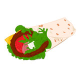 Beef roll vector illustration. Beef roll color vector illustration on white background Royalty Free Stock Photo