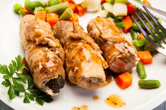 Beef Rolls And Vegetables Stock Images