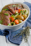 Beef rolls with ingredients. Royalty Free Stock Photography