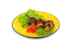 Beef rolls isolated Stock Images