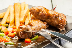 Beef Rolls With French Fries Royalty Free Stock Images
