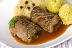 Beef Roulade with Dumplings,Cabbage (Sauerkraut) a Stock Image