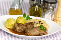 Beef Roulade with Dumplings,Cabbage (Sauerkraut) a Stock Photos
