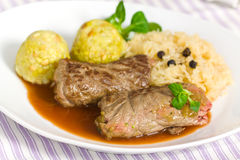 Beef Roulade with Dumplings,Cabbage (Sauerkraut) a Royalty Free Stock Image