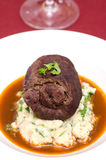 Beef roulade with gravy. Beef roulade with mashed celeriac and gravy Stock Images