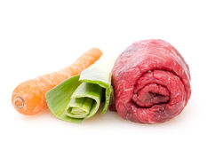 Beef roulade with leek and carrot Royalty Free Stock Photography