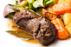 Beef roulade. With potatoes and salad royalty free stock images