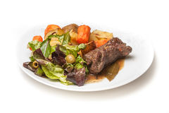 Beef roulade. With potatoes and salad stock photography