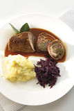 Beef roulade with red cabbage and mashed potatoes Stock Image