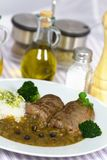 Beef Roulade with Rice and Sauce Stock Photo