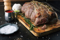 Beef roulade with smoked bacon and rosemary Royalty Free Stock Photos