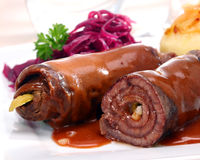 Beef roulades with a rich brown sauce Royalty Free Stock Photography