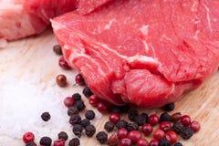 Beef rump steak. Raw fresh beff rump steak on board Royalty Free Stock Image