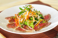Beef salad. Selected fine sliced beef salad with teasty dressing Stock Images