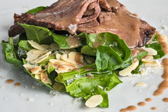 Beef with salad and almond Royalty Free Stock Image