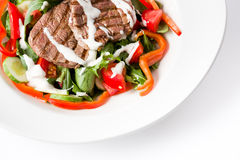 Beef salad and crunchy veggies. With cream sauce Stock Photos