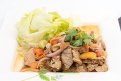 Beef Salad with juicy dressing, thai call Royalty Free Stock Photos