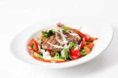 Beef salad. With lots of veggies and cream sauce Stock Photo