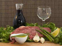 Beef and salad with wine Stock Photo