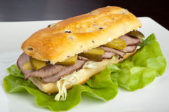 Beef Sandwich. On a white plate Stock Photography