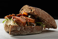 Beef sandwich with kimchi closeup Stock Photography