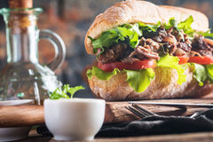 Beef sandwich with tomato and salad Stock Photography