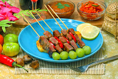 Beef satay. Grilled meat Indonesian food Stock Photo