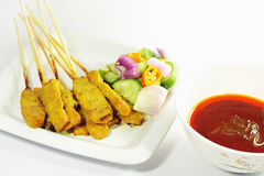 Beef satay, pork satay, chicken satay Stock Photos