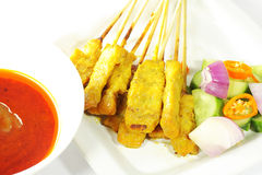 Beef satay, pork satay, chicken satay. Thai cuisine Image Royalty Free Stock Images