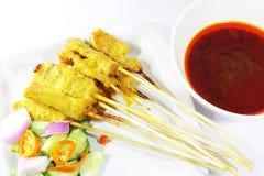 Beef satay, pork satay, chicken satay. Thai cuisine Image Royalty Free Stock Photos