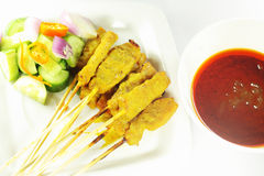 Beef satay, pork satay, chicken satay Stock Photography